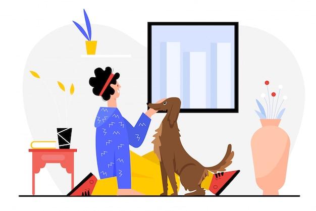 Menschen- und hundeillustration. cartoon glücklicher mann besitzer charakter sitzt auf dem boden neben eigenen lustigen hündchen, verbringen spaß zeit mit eigenen tier freund zusammen, haustier freundschaft auf weiß Premium Vektoren