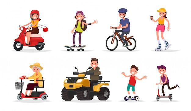 Menschen und räder: fahrzeuge, roller, skateboard, fahrrad, rollschuhe, gyroscooter, atv. Premium Vektoren