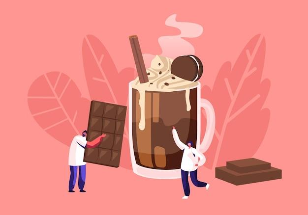 Menschen und schokoladenkonzept mit winzigem männlichem charakter tragen riesige schokoriegel, karikatur-flache illustration Premium Vektoren