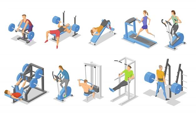 Menschen und trainingsgeräte im fitnessstudio. isometrischer satz von fitnessgerätesymbolen. Premium Vektoren