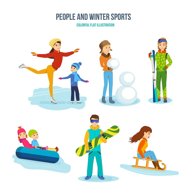 Menschen und winter und aktiver sport setzen. Premium Vektoren