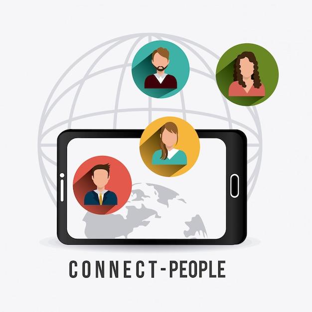 Menschen verbinden design. Premium Vektoren