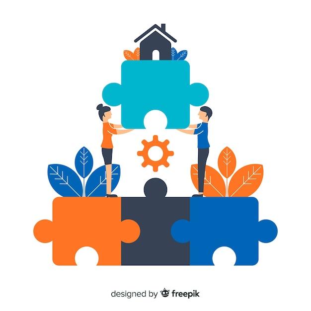 Menschen verbinden puzzleteile Kostenlosen Vektoren