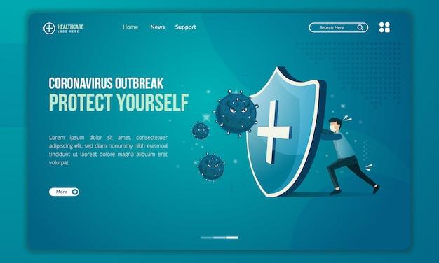 Menschen versuchen, sich vor der bedrohung durch corona-viren auf der zielseite zu schützen Premium Vektoren
