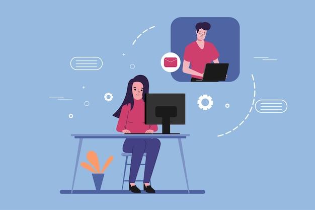 Menschen videoanruf konferenz auf laptop-computer. social media chat weltweite konzeptillustration. Premium Vektoren