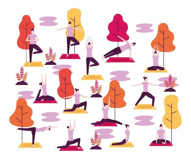 Menschen yoga-aktivität Kostenlosen Vektoren