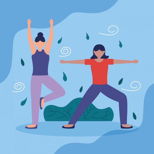 Menschen yoga im freien in flachen stil Kostenlosen Vektoren