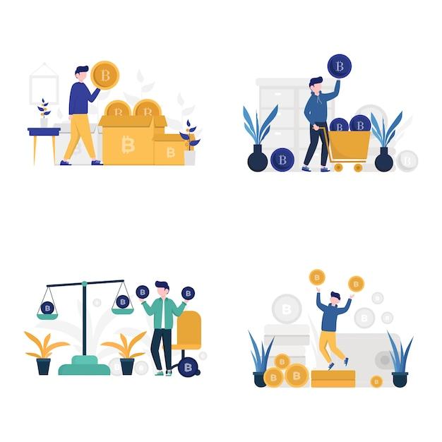 Menschen zählen, wiegen, kaufen und investieren kryptowährung illustration, Premium Vektoren