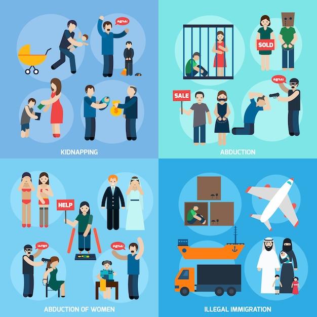 Menschenhandel 4 flache ikonen square Kostenlosen Vektoren