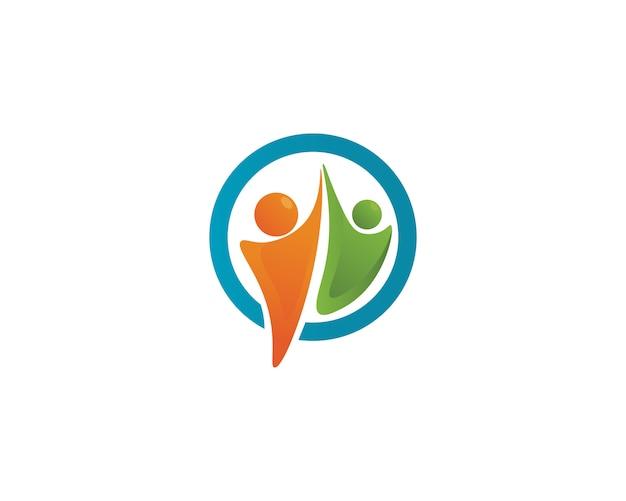 Menschensorgfalterfolgs-gesundheitsleben-logo-schablonenikonen Premium Vektoren