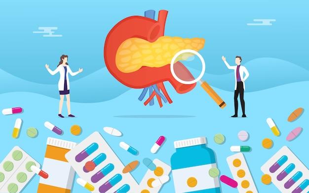 Menschliche bauchspeicheldrüsen-medizingesundheit mit pillendrogen-kapselbehandlung Premium Vektoren