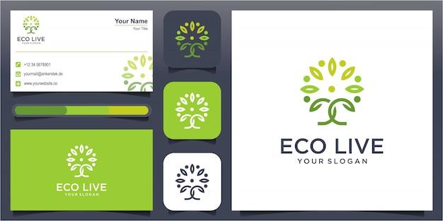 Menschliche baumlinie kunstart-logo-symbolillustration Premium Vektoren