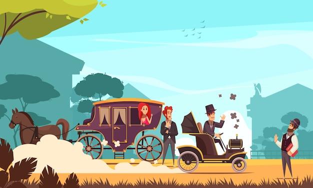 Menschliche charaktere und alte bodentransport-pferdekutsche und altes auto auf verbrennungsmotorkarikatur Kostenlosen Vektoren
