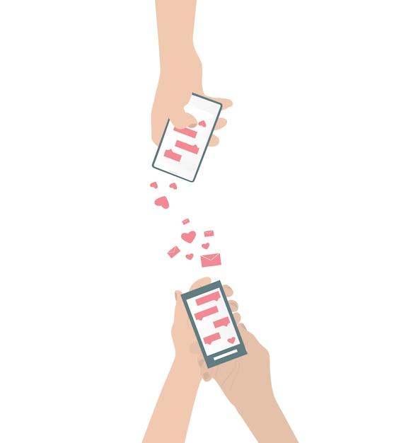 Menschliche hand sendet liebes-sms Premium Vektoren