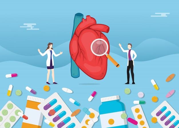 Menschliche herzmedizingesundheit mit pillendrogen-kapselbehandlung Premium Vektoren