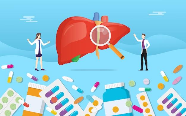 Menschliche lebermedizingesundheit mit pillendrogen-kapselbehandlung Premium Vektoren