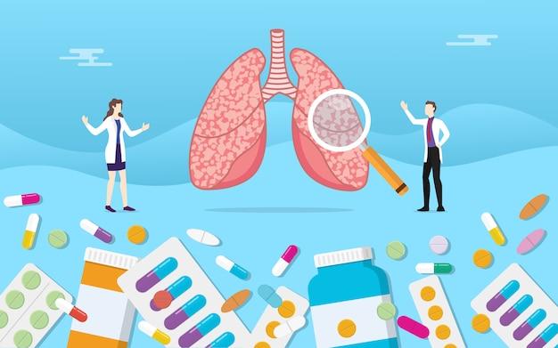 Menschliche lungenmedizingesundheit mit pillendrogen-kapselbehandlung Premium Vektoren