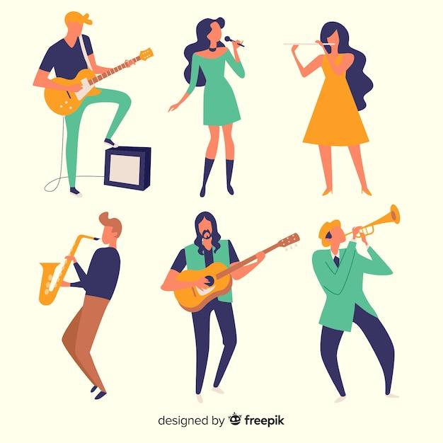 Menschliche musikaktivitäten Kostenlosen Vektoren
