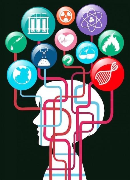 Menschliche silhouette und wissenschaft symbole Kostenlosen Vektoren