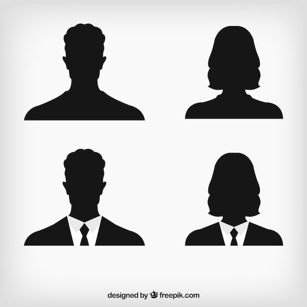 Menschliche Silhouetten avatar Kostenlose Vektoren