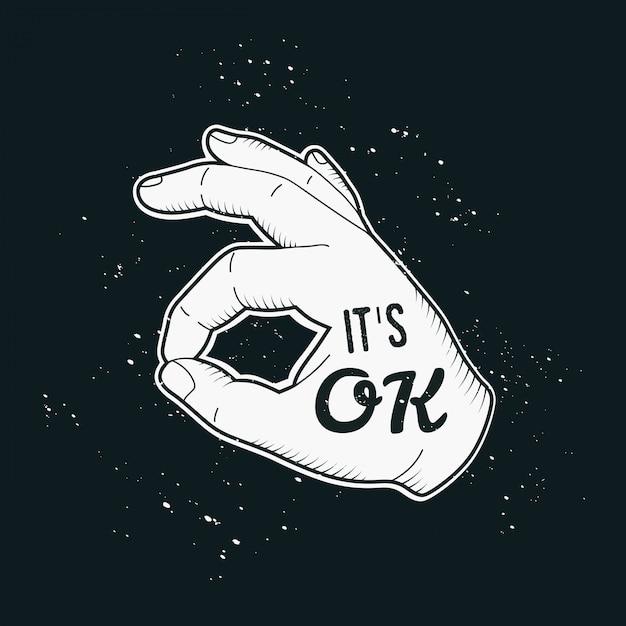 Menschliche weinlesehandzeichnung mit guter qualität der geste oder ok im retrostil. Premium Vektoren