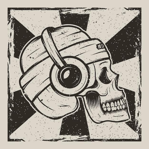Menschlicher schädel im hut und mit kopfhörern musik hörend Premium Vektoren