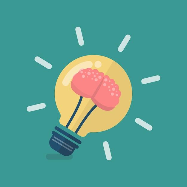 Menschliches gehirn in der glühlampenidee Premium Vektoren