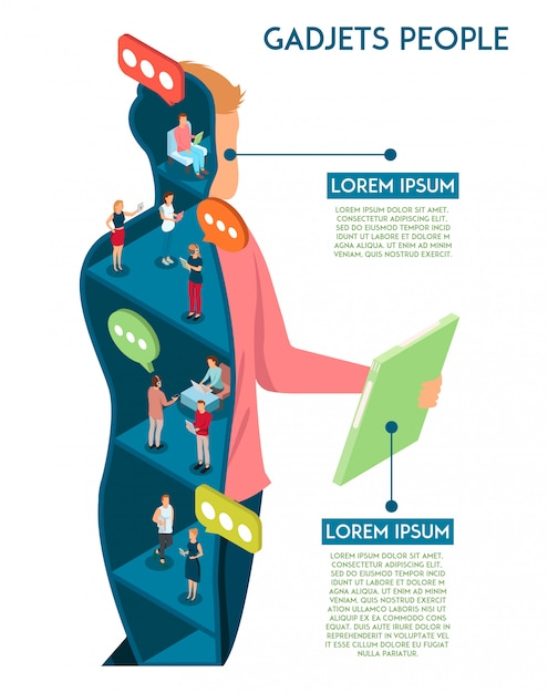 Menschliches infographics der geräte mit begriffszusammensetzung des mannes mit der tablettenzahl schnittansicht, die durch plaudern der leutevektorillustration bevölkert wird Kostenlosen Vektoren