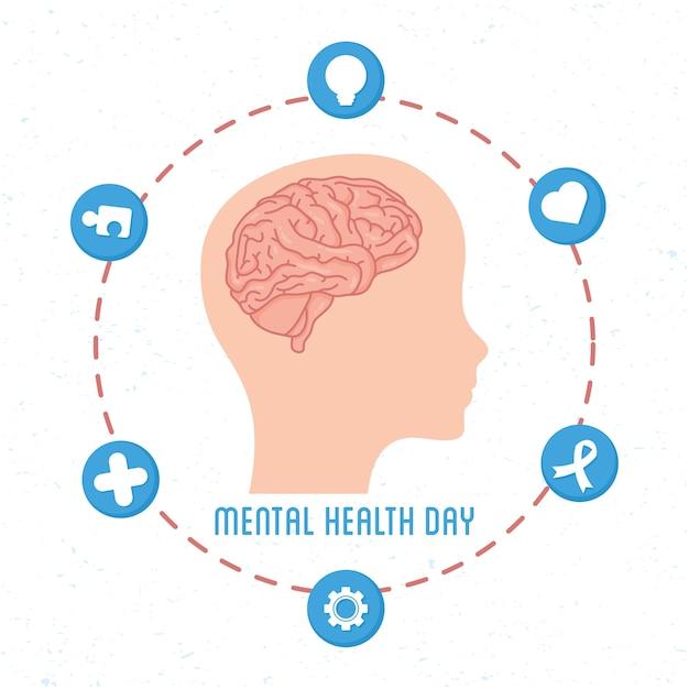 Mental health day karte mit gehirn im kopfprofil mensch und satzikonen Premium Vektoren