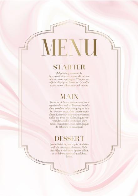 Menü-design mit elegantem rosa marmor-design Kostenlosen Vektoren