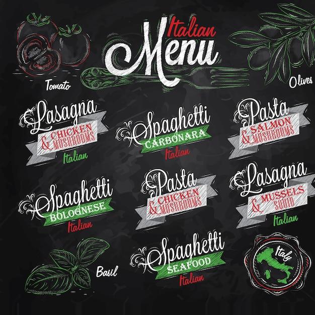 Menü italienische farben kreide Premium Vektoren