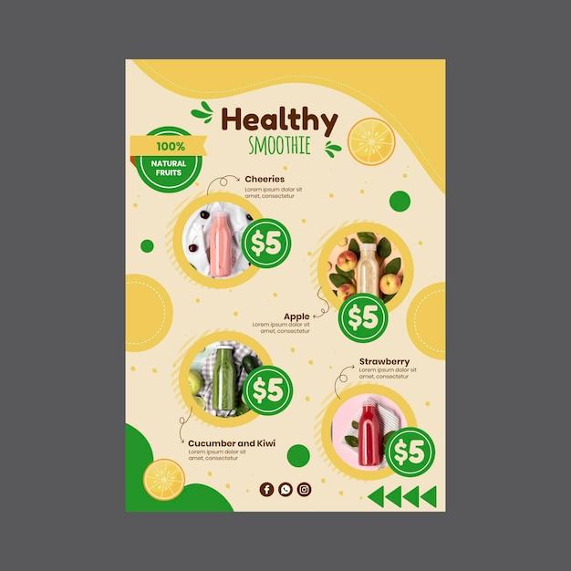 Menüvorlage der smoothies-leiste Kostenlosen Vektoren