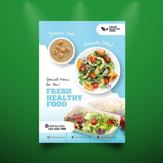 Menüvorlage für gesunde lebensmittel Premium Vektoren