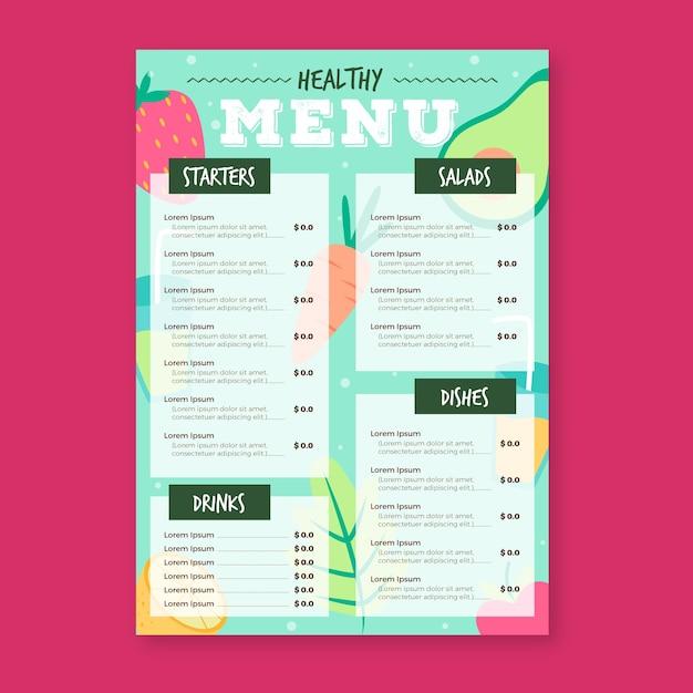 Menüvorlage für gesundes lebensmittelrestaurant Kostenlosen Vektoren