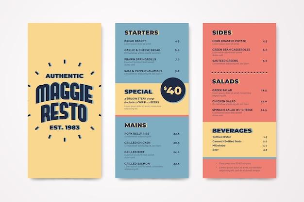 Menüvorlage in farbenfrohen design Kostenlosen Vektoren