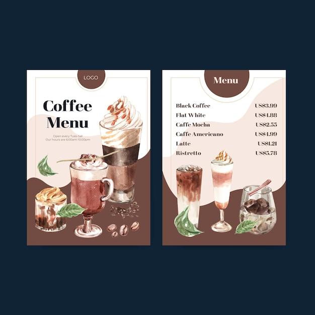 Menüvorlage mit koreanischem kaffeestilkonzept für restaurant- und bistroaquarell Kostenlosen Vektoren
