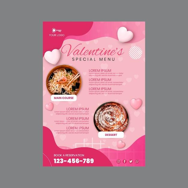 Menüvorlage zum valentinstag Kostenlosen Vektoren