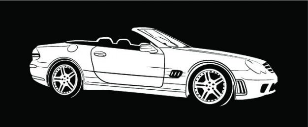 Mercedes benz auto aus seitenansicht Kostenlosen Vektoren
