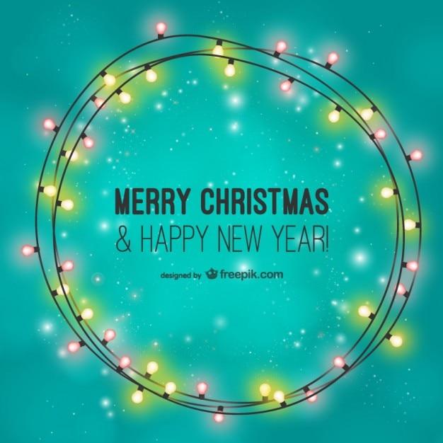 Merry christmas card mit glühbirnen Kostenlosen Vektoren