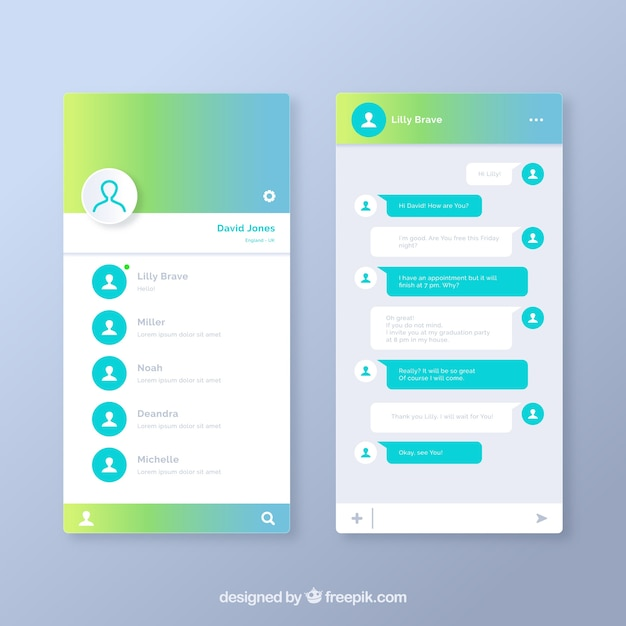 Messenger-anwendung für handys im gradientenstil Premium Vektoren