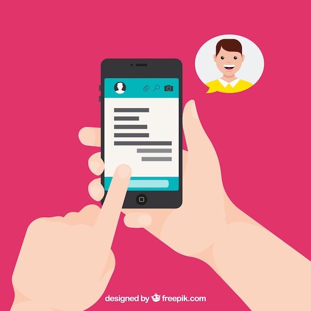 Messenger-anwendung im flachen stil Kostenlosen Vektoren