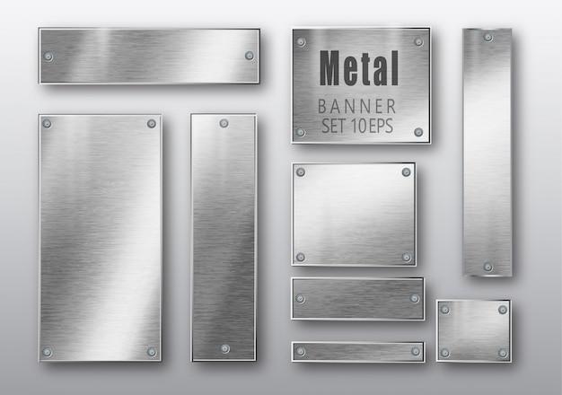 Metal banner gesetzt realistisch. Premium Vektoren