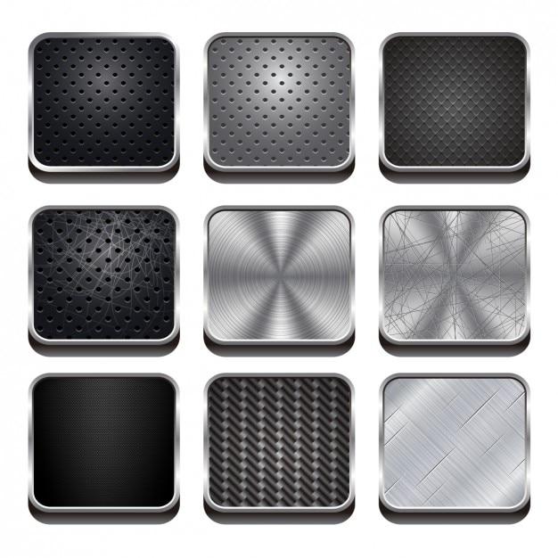 Metal web buttons set Kostenlosen Vektoren