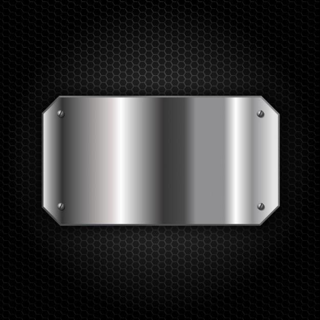 Metall-teller über metallischen hintergrund Kostenlosen Vektoren