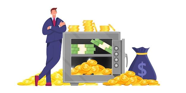 Metallbank sichere finanzillustration Premium Vektoren