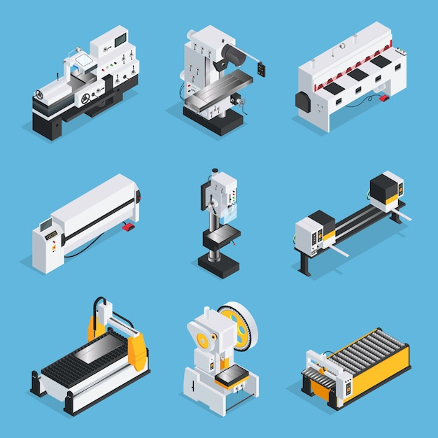 Metallbearbeitungsmaschinen isometric set Kostenlosen Vektoren
