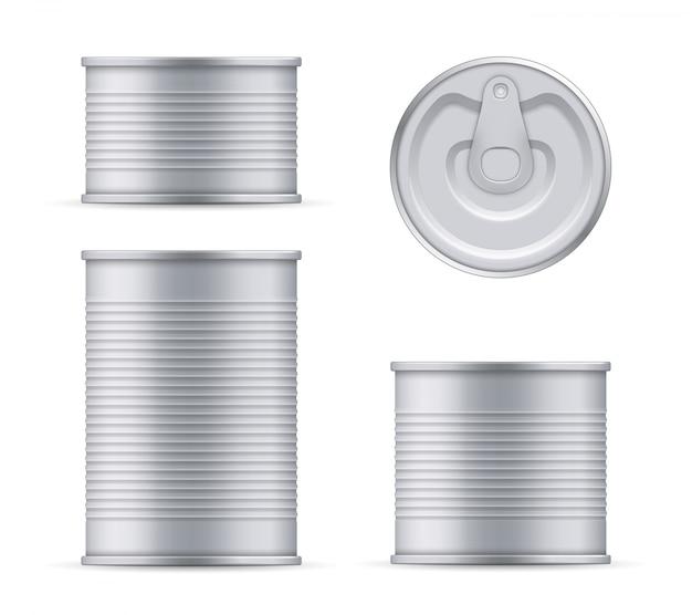 Metallblechdose der thunfischoberseite und der vorderansichtschablone. Premium Vektoren