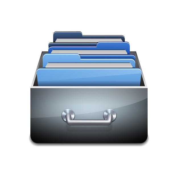 Metallfüllschrank mit blauen ordnern. illustriertes konzept der datenbankorganisation und -pflege. illustration auf weißem hintergrund Premium Vektoren