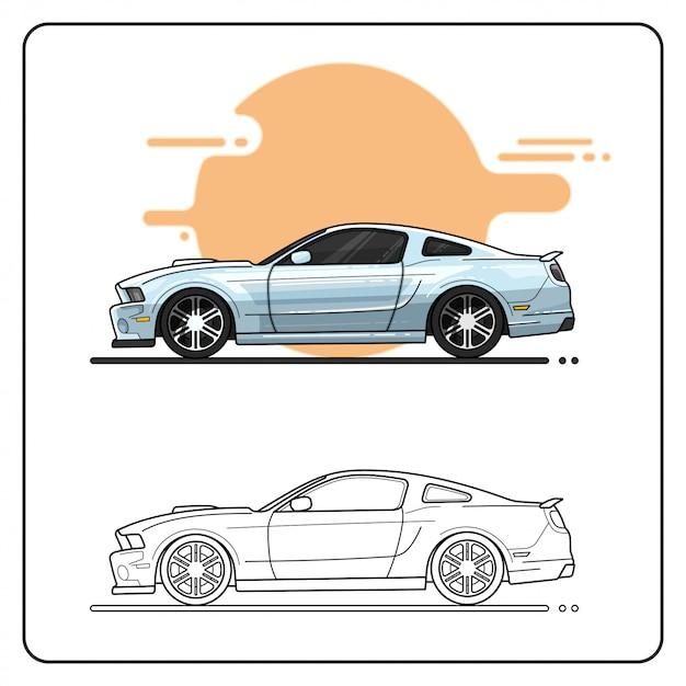 Metallic auto leicht editierbar Premium Vektoren