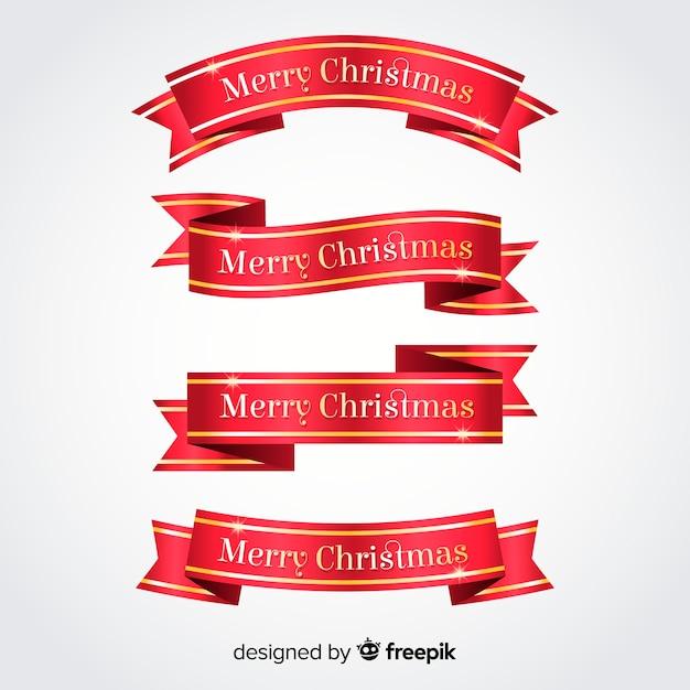 Metallic farbbänder weihnachtskollektion Kostenlosen Vektoren